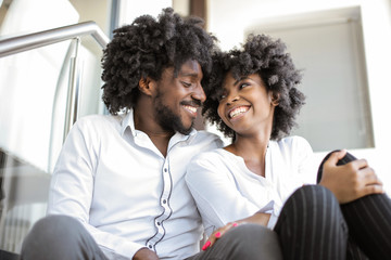 Happy Afro couple