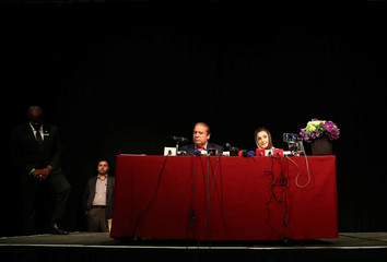 Ousted Prime Minister of Pakistan, Nawaz Sharif, appears with his daughter Maryam, at a news conference at a hotel in London