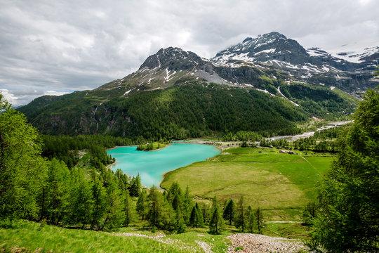 Palu Lake and Bernina Alps, Grisons, Switzerland