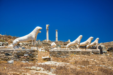 Wall Mural - Ancient ruins in the island of Delos in Cyclades, one of the most important mythological, historical and archaeological sites in Greece.