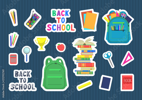 Back to school  Set of school supplies on dark blue background