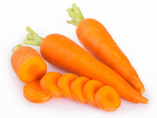Fresh carrot on white background
