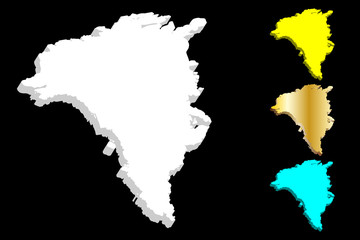 3D map of Greenland - white, yellow, blue and gold - vector illustration