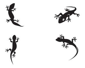 Lizard Chameleon Gecko Silhouette black vector