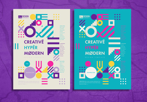 Flyer Layout with Colorful Geometric Shapes