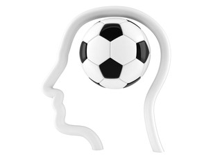Soccer ball inside head profile