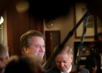 U.S. Supreme Court nominee Kavanaugh meets with Senator Graham on Capitol Hill in Washington