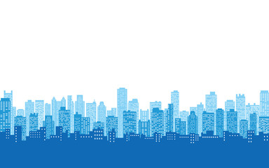 blue color of silhouette city skyline, Cityscape in white color sky background