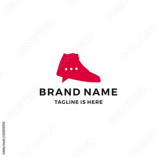 44466d4d7761c shoe sneaker talk chat bubble logo trade social media shop store vector icon