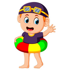 funny boy with colorful inflatable ring