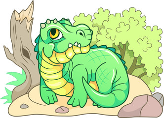 cartoon cute crocodile lies on the shore, funny illustration