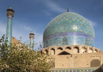 persian islamic architecture detail of imam mosque in esfahan isfahan iran