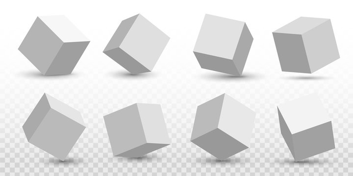 Creative vector illustration of perspective projections 3d cube model icons set with a shadow isolated on transparent background. Art design geometric surfac rotate. Abstract concept graphic element