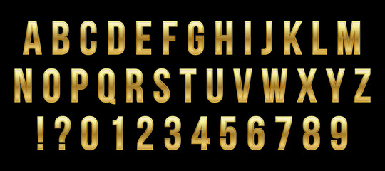 Creative vector illustration of golden glossy font, gold alphabet, metal typeface isolated on transparent background. Art design luxury metallic typographic abc. Abstract concept graphic element.