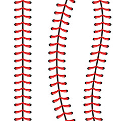 Creative vector illustration of sports baseball ball stitches, red lace seam isolated on transparent background. Art design thread decoration. Abstract concept graphic element