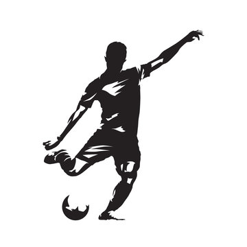 Soccer player kicking ball, isolated vector slhouette. Fooballer running with ball. Football, team sport