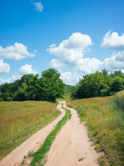 Fototapete - Country road in forest and sky
