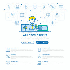 App development concept: developer coding on laptop. Thin line icons: writing code, multitasking, smart watch app, engineering, updates, cloud database. Modern vector illustration, web page template.