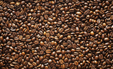 top view of coffee beans as textured background