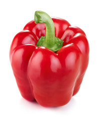 single ripe red pepper isolated on white background