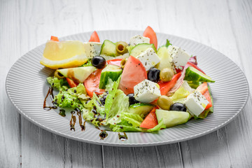 Greek salad with vegetables and spices
