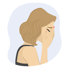 Woman covering her face with hands crying sad bad mood concept
