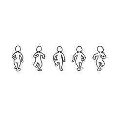 Silhouette of a walking man. A cartoon man goes to a meeting.
