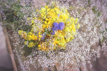 Bouquet of garden flowers and healing herbs