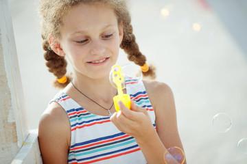 Children with soap bubbles