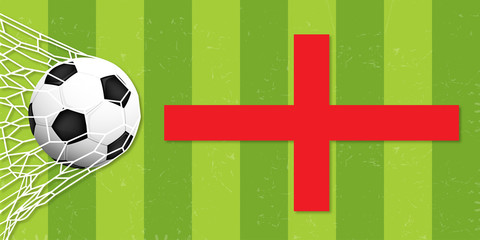 A realistic ball hits the gate on a green background with england flag