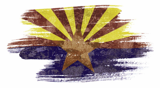 Art brush watercolor painting of Arizona flag blown in the wind isolated on white background eps 10 bector illustration.