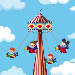 Theme park giant airplane swing