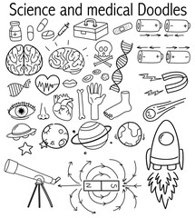Set of science and medical doodles