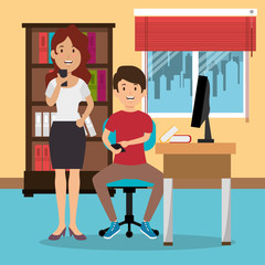 young couple in the workplace office