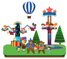 Kids at theme park and fun rides