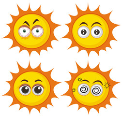 Set of suns with different expressions