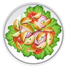 Salad with potato onion and tomato