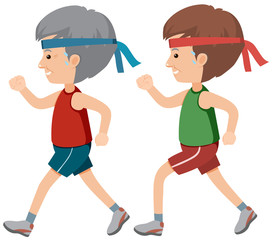 All Age Male Jogging on White Background