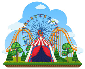 A Theme Park on White Background