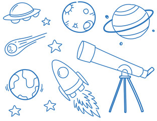 Doodles of planets and space objects
