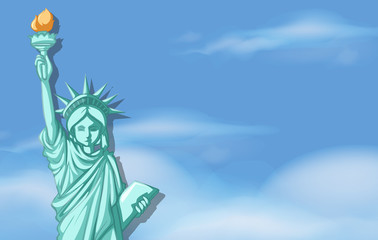 Statue of liberty with sky background