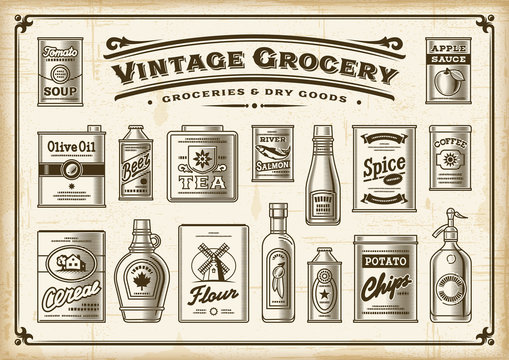 Vintage Grocery Set. One Color. Vector illustration in retro woodcut style.