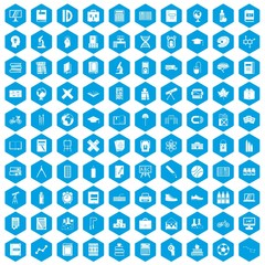 100 school icons set in blue hexagon isolated vector illustration