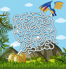 Pterosaurs Finding Eggs maze puzzle game