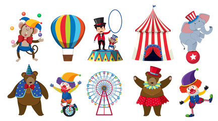 Set of various circus characters