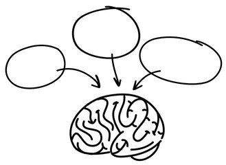 Doodle Brain Symbol on White Background