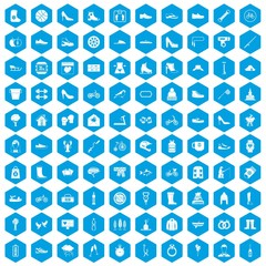 100 shoe icons set in blue hexagon isolated vector illustration