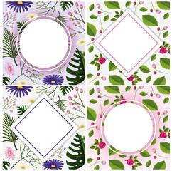 A set of vintage flower frame