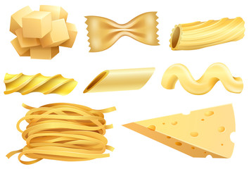 A Set of Pasta and Cheese