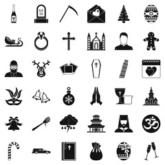 Religion icons set. Simple style of 36 religion vector icons for web isolated on white background